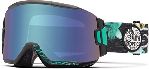 Smith Optics Squad Cylindrical Series Winter Sport Snowmobile Goggles Eyewear - Black Burnout/Blue Sensor / Medium