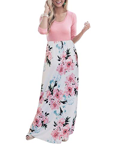 (DUNEA Women's Maxi Dress Floral Printed Autumn 3/4 Sleeve Casual Tunic Long Maxi Dress (X-Large, Pink#2))