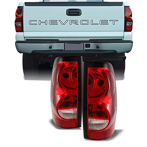 For Chevy Silverado Replacement Red Clear Tail Lights Driver/Passenger Rear Lamps Pair New