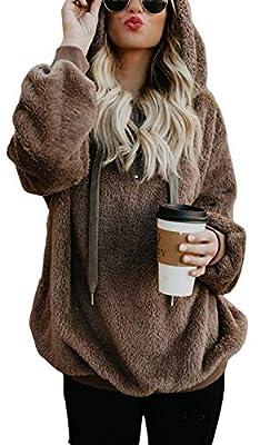 TBONTB Womens Fleece Hooded Casual Oversized Long Sleeve Loose Sweatshirt Pockets Outwear