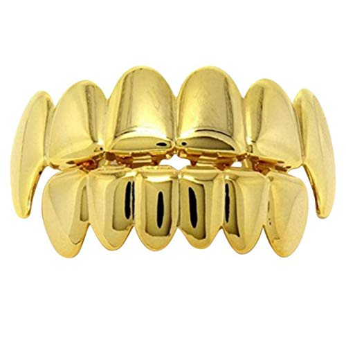 TOOGOO Gold Men and Women Unisex Fashion Hip Hop Teeth Grillz Jewelry Decorate Copper Teeth Braces Halloween Decorative Braces ()