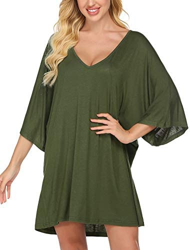 Ekouaer Womens Sleepshirt Sexy Nightshirt Batwing Sleepwear V Neck Loungewear Short Sleeve Nightwear Plus Size