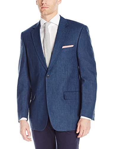 Palm Beach Men's Bradley Linen Sportcoat, Navy, 44 Regular by Palm Beach