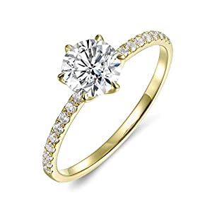 Lamrowfay 14k Yellow OR White Solid Gold 1.0 CT Classic 6-Prong Engagement Wedding Ring