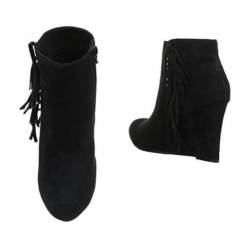 Keilabsatz Stiefeletten Schuhe Keilabsatz Keilstiefeletten Schwarz Plateau Design Wedge Damen Ital Reißverschluss 7qa484