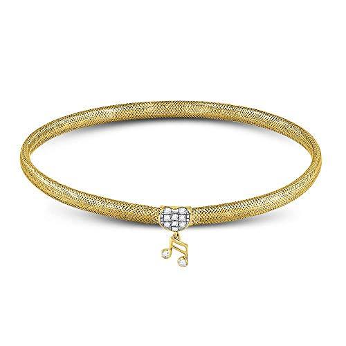 Heart Diamond Music Note Bangle Bracelet Stretchable Eight Quaver Fashion Style Round Fancy .10ct 10k Yellow ()