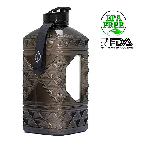 Hydro Diamond Water Bottle BPA Free Premium Square Large 2.2 Liter Fast Flow Flip Top Leak Proof Big Water Jug Container FDA Certified Food Safe Plastic Perfect for Gym Camping and Sport 2L -