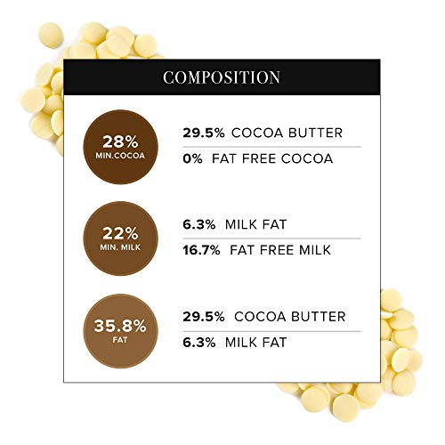 Callebaut Belgian White Baking Chocolate Callets - 29.5% Cocoa Butter, 0% Fat Free Cocoa, 6.3% Milk Fat, 16.7% Fat Free Milk - Good For Cakes, Mousse, Truffle, Fillings & Dipping - 22 Lbs by Callebaut (Image #6)