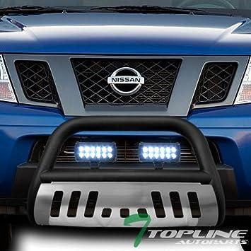 """3/"""" LED Off Road Fog Lights 05-15 Frontier Stainless Bull Bar Brush Guard"""