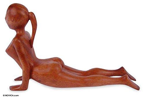 NOVICA Brown Natural Grain Suar Wood Human Figure Yoga Meditation Sculpture, 6.25'' Tall 'Cobra Yoga Pose' by NOVICA