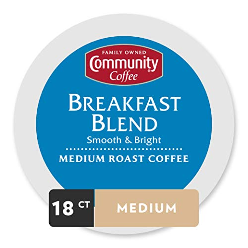 - Community Coffee Breakfast Blend Medium Roast Single Serve, 18 Ct Box, Compatible with Keurig 2.0 K Cup Brewers, Full Body Bold Taste, 100% Arabica Coffee Beans