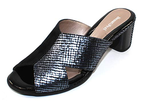 BeautiFeel Women's Amore in Black Suede/Indigo Embossed Satin Leather - Size 40 M ()