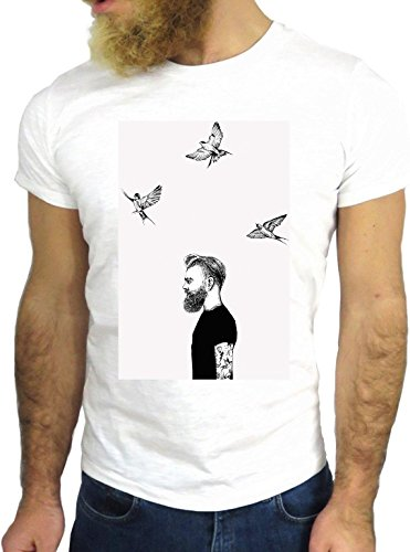 T SHIRT JODE Z1604 MAN HIPSTER BIRDS FREEDOM RELAX SPRING COOL FASHION NICE GGG24 BIANCA - WHITE S