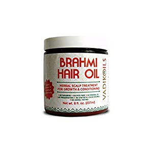 Brahmi Hair Oil (8 oz) by Vadik Herbs | All natural herbal hair oil for hair growth, hair conditioning, dandruff and dry…