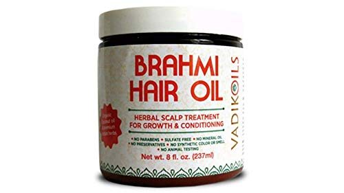 Brahmi Hair Oil (8 oz) by Vadik Herbs | All natural herbal hair oil for hair growth, hair conditioning, dandruff and dry scalp | Herbal scalp treatment ()