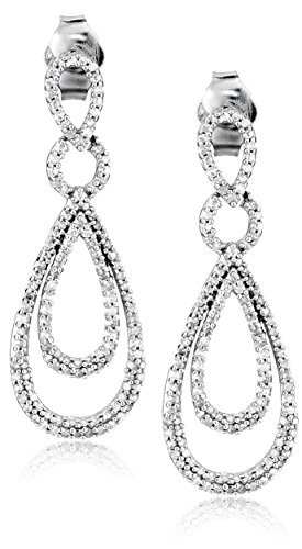- Sterling Silver Diamond Drop Earrings (1/2 cttw)