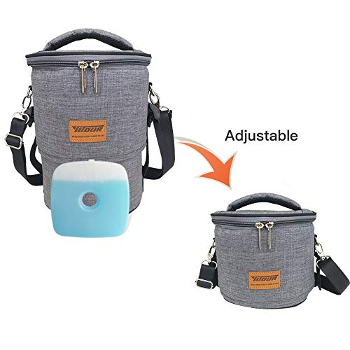 Round Lunch Box - Insulated Lunch Bags for Women - Round Adjustable Large Meal Prep Freezable Lunch Tote Bag Organic Lunch Box Organizer for Men Kids Adult with Reusable Ice Gel Pack