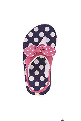 Wonder Nation Toddler Girls EVA Beach Flip Flop Size: 11-12 (Navy Pink with Polka Dots)