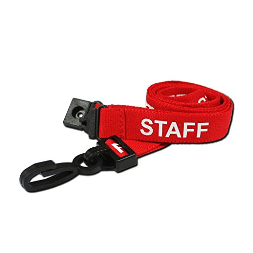 CKB Ltd 20X Red Staff Lanyards Breakaway Safety Lanyard Neck Strap Swivel Metal Clip for Id Card Holder - Pull Quick Release Design for $<!--$20.00-->