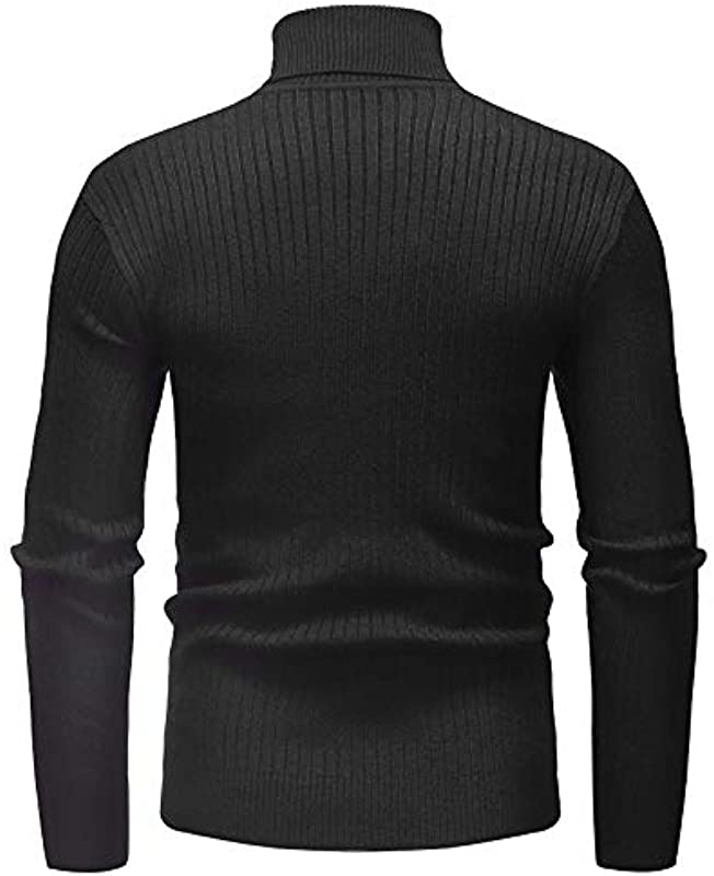 NTOW Męskie Solid Pullover Turtleneck Baumwolle Lässige Slim Fit Langarm Strickpullover Pullover Sweatshirt Pulli: Odzież