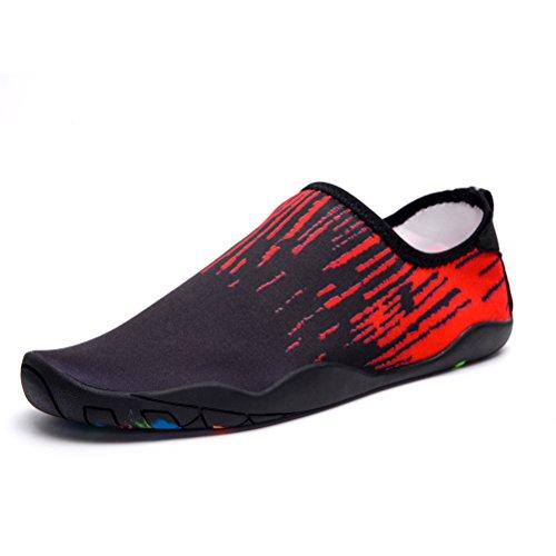 Skysun Eau Chaussures Hommes Pieds Nus Peau Aqua Eau Chaussures Séchage Rapide Pour Nager, Yoga, Lac, Plage, Plongée En Apnée, Canotage, Surf Skp1001-1-bk / Rd