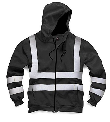 Class Hoodie (Mens Hoodie Hi Vis Visibility Safety Hooded Zip Sweatshirt Work Jacket Top EN489)