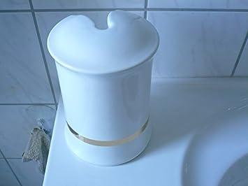 Toilettenbürstengarnitur Aus Keramik Dekor Weiß Mit Goldband Unten