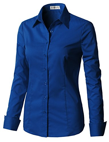 al Work Wear Simple Button Down Shirt RoyalBlue M ()