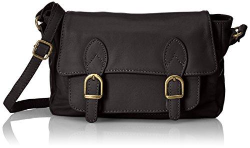 CTM Embrague de la mujer, pequeña bolsa de hombro de cuero genuino italiano suave fabricado en Italia 24x16x8 Cm Negro (Nero)