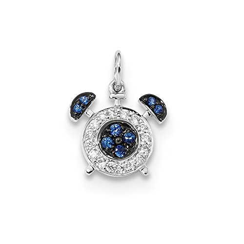 (14k White Gold Diamond Sapphire Alarm Clock Pendant Charm Necklace Gemstone Fine Jewelry Gifts For Women For Her)