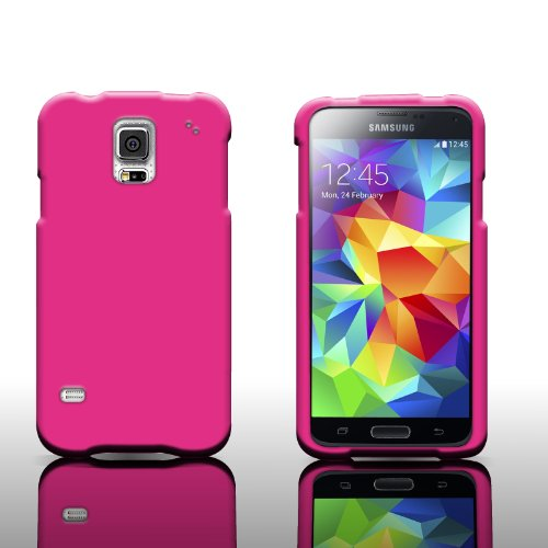 CoverON Hard Rubber Case for Samsung Galaxy S5 - Slim Hot Pink Snap On ()