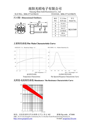 Photoresistor Photoconductive Cell Light Dependent Resistor 80-150K LDR 11mm Ceramic Pacakge(30) by Shine Gold Electronices Co., Ltd. (Image #6)