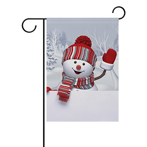 My Little Nest Winter Funny Snowman Waving Hand House Flag Party Yard Decorative Double Sided Polyester Large Garden Flag Banner 28×40″