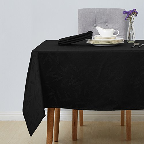 Deconovo Decorative Jacquard Square Tablecloth Wrinkle and Water Resistant Spill-Proof Tablecloths with Bamboo Leaves Patterns for Outdoor Picnic 60 x 60 inch Black