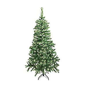 ALEKO CT60H250WH Artificial Holiday Christmas Tree Premium Pine with Stand 250 Soft White LED Lights 5 Foot Light Green 4