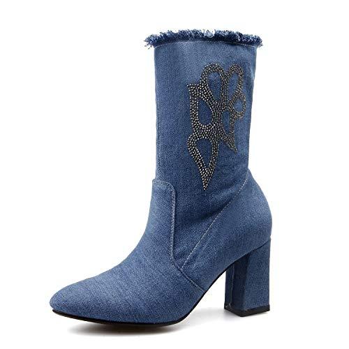 Lsm Rond Bottines Blue pour Bout Bottes Femmes à Light rffPqa