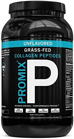PROMIX Collagen Peptides Protein Powder, Pasture-Raised Grass Fed Hydrolysate Unflavored, 2.5lbs Keto, Non GMO, Gluten Free, Natural, Organic, Hydrolyzed For Healthy Skin, Bones, Hair and Joints