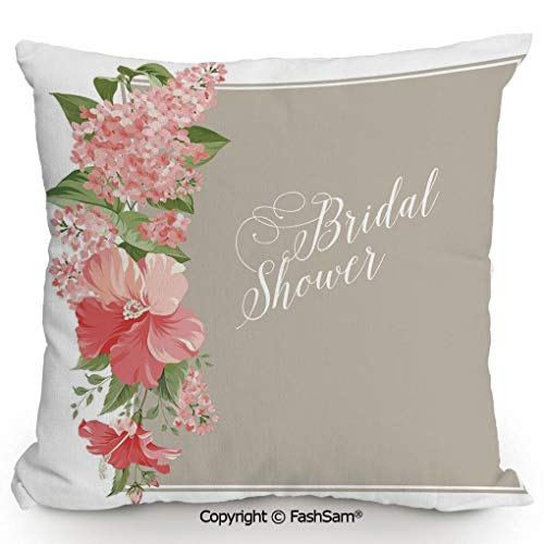 FashSam Throw Pillow Covers Lilacs Orchids with Leaves Corner Frame Bride Party for Couch Sofa Home Decor(14