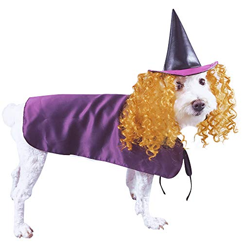 MAZORT Funny Dog Halloween Clothes, Pets Halloween Christmas Dog Cosplay Witch Costume Purple Cloak with Hat]()