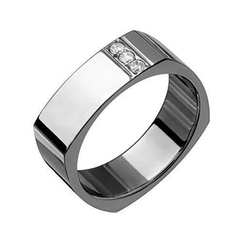 Aishe - Original Square shaped Titanium Ring with Sparkling Diamonds. Choose your size! (13.75) ()