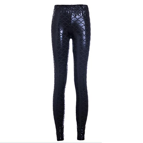 Dragon Womens Tracksuit (Black Girl's Glittery Slim Dragon Scale Print Leggings Pants L)