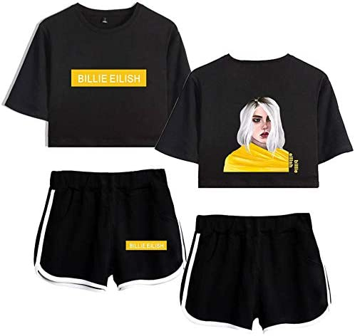 Billie Eilish Exposed Belly Short Sleeve Shorts Match The Summer Short T Shirt Graffiti Of Women In Summer Amazon De Bekleidung