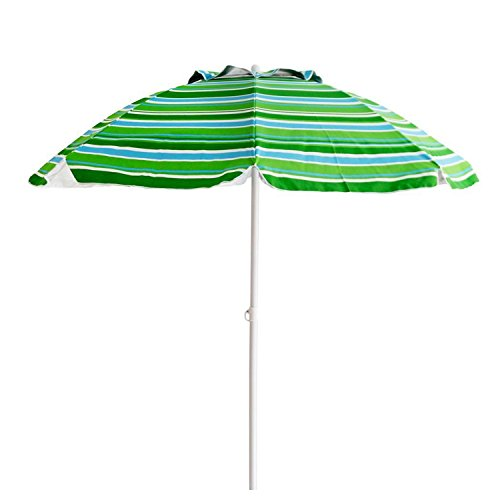 Suny Deals 7 Ft Beach Umbrella Sand Anchor Outdoor Patio Umbrella with Tilt 8 Ribs, Sturdy Pole and Carry Bag, Air Vent Blue Green
