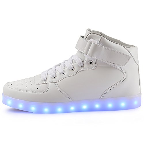 TULUO USB Top 7 Carica High LED Colori Kid e Uomo Luce e Sneakers Donna White Scarpe FPgfPrqXw