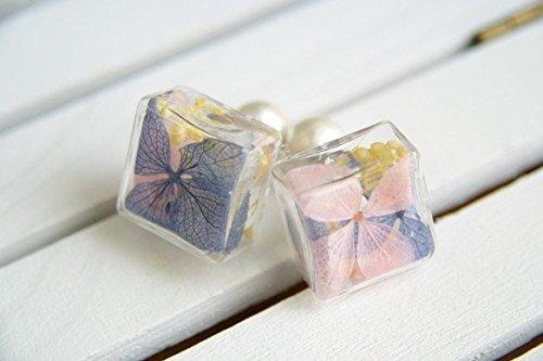 ガラスドーム*紫陽花プリザーブド ピアス