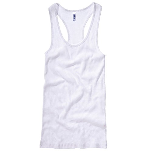 Bella+Canvas 2x1 Rib racerback longer length tank top White L