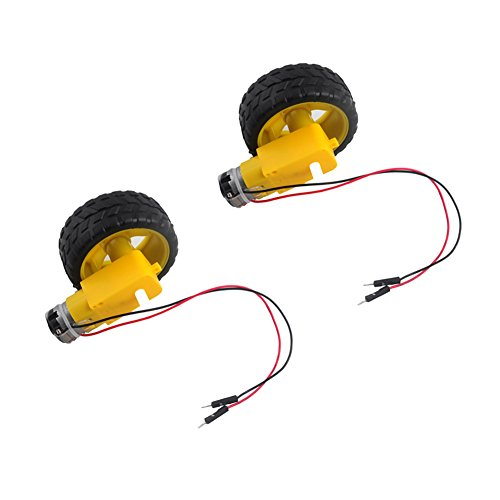 DC Gearbox Motor TT Motor 200RPM Tire Wheel DC 3-6V for Arduino Smart Car 1:48 Male Connector (Pack of 2 Sets)