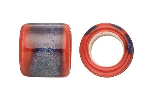 Tube Licorice Ceramic Bead Fits 10x8mm licorice Leather Burn Blue Glazed Finished (Pack of 15 Charms)