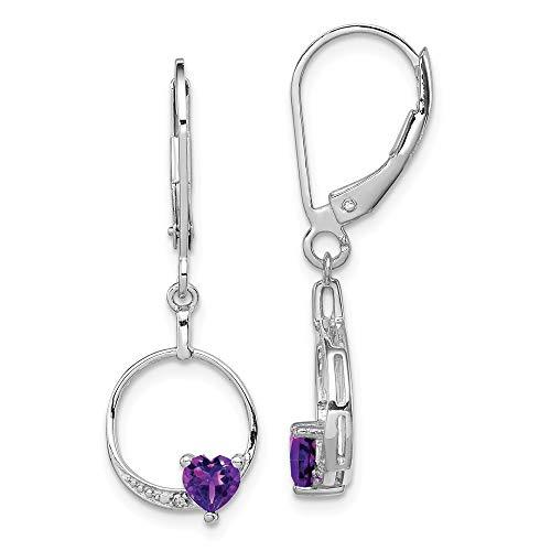 925 Sterling Silver Purple Amethyst Diamond Leverback Earrings Lever Back Drop Dangle Fine Jewelry Gifts For Women For Her