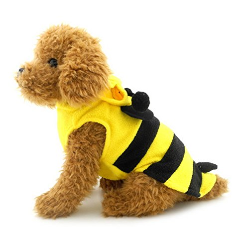 Bumblebee Dog Costume (Ranphy Small Dog/Cat Bumble Bee Outfits Halloween Costume Jumpsuit Fancy Dress Pet Holidays Clothes Yellow)